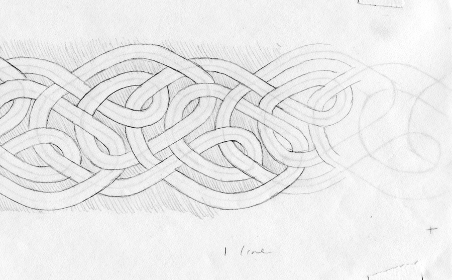 A portion of a linear infinite knot drawing by Nancy Jacobs.