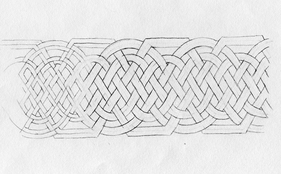 A portion of an infinite knot drawing by Nancy Jacobs.